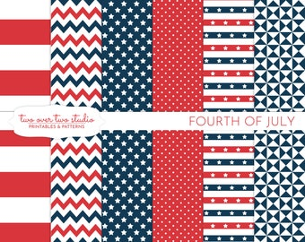 4th of July Digital Paper, Commercial Use, Independence Day, Patriotic, Fourth of July, Red, White, Blue, July 4th, Stars and Stripes
