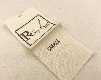 custom textile labels, cotton labels for clothing, natural organic look cotton labels