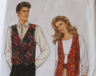 SALE - Misses, Mens or Teens Sewing Pattern - Easy Lined Vest - Simplicity 9285 - Sizes XS - XL, Bust/Chest 30 - 48, Uncut