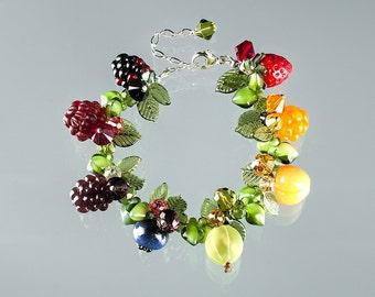 Glass Fruit Bracelet  lampwork bead jewelry hand blown glass art birthday gift, Mother's Day gift for gardener, chef, cook