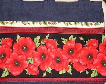 New Handmade Denim Walker Tote Bag Poppy Floral Flowers Theme