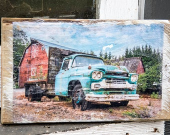 Barn and Vintage Chevy Wall Hanging, Fine Art Photograph Manually Transferred to Reclaimed Wood, Ready to Hang in Your Home