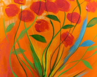 Whimsical flower painting, floral abstract painting, red rose painting, original art bright wall art contemporary orange painting modern art