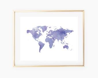 World Map Printable Art, Travel Print, World Map Wall Art, World Map Art, World Map Print, Office Wall Art, Travel Wall Art, Map Decor