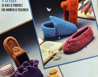 Slippers by Leisure Arts 9 Styles to Knit & Crochet for Women and Children  1985 Leisure Art 356
