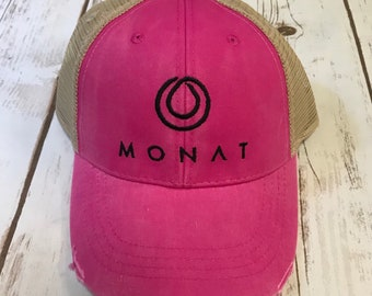 Embroidered Monat Hair Inspired Distressed Trucker Hat in Several Colors