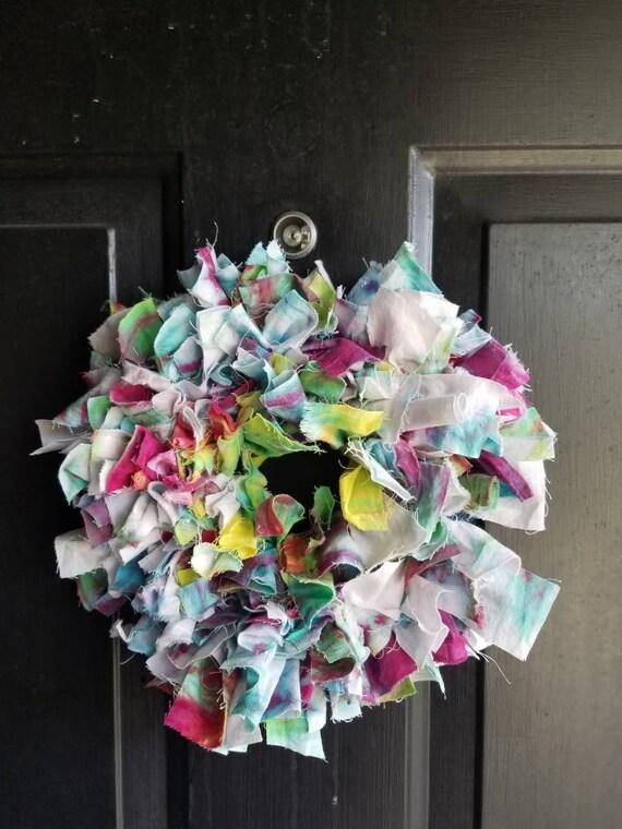 """Tie Dye Wreath , Tie Dye Gift , Rag Wreath , Mini Wreath ,  Boho Wreath , Tie Dye Decoration , 6"""" Wreath , Year Round Wreath"""