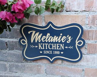 "Personalized 11""x7"" Kitchen Sign, Mother's Day Gift, Grandma Gift, Kitchen Decor Sign, Custom Kitchen Plaque, Personalized Name Sign carved"