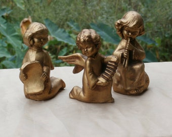 3 Vintage Italian Made Golden Angel Ornaments, Christmas Decorations made in Italy Wolin Brand Gold Color