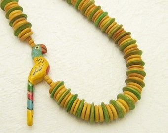Parrot Necklace Vintage Bird Jewelry