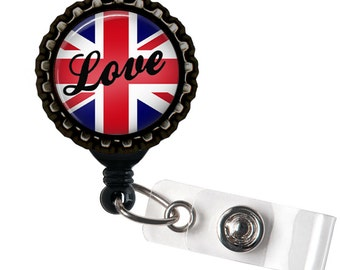 UK Love - Black Retractable Badge Reel ID Holder