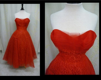 Vintage 1950s Dress - Strapless Cherry Red Tulle Cupcake 50s Party Prom Dress with Full Skirt by Emma Domb