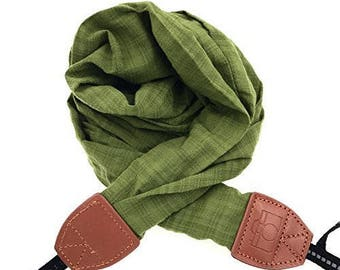 Vintage Camera Strap Shoulder Strap, Soft Trendy Soft Neck Scarf Strap DSLR / Nikon / Canon / Sony Photo Carrying Strap / Camera Strap Green