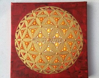 original painting, dot painting, flower of life
