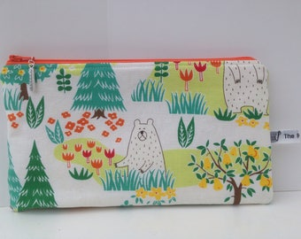 Cute bears in the woods fabric pencil case; storage pouch; zipped wallet,