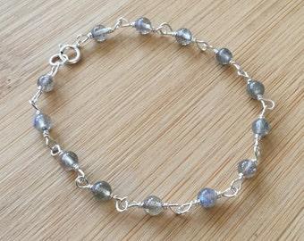 Wire Wrapped Labradorite Bracelet, Sterling Silver Bracelet, Blue Flash Labradorite Jewelry, Beaded Bracelet, Stacking Bracelet