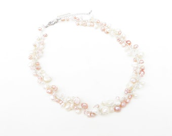 White and pink freshwater pearl necklace on silk thread, short necklace, wedding jewelry, bridesmaid necklace