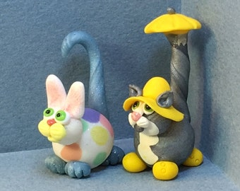 Calendar Cats, April  - Easter Bunny Cat or Rainy Day Cat