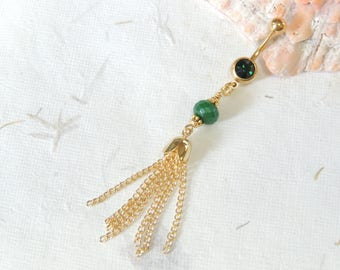 Gold Tassel Emerald Belly Button Ring, Boho Gypsy Belly Ring, Long Dangle Belly Ring, Gold Belly Ring