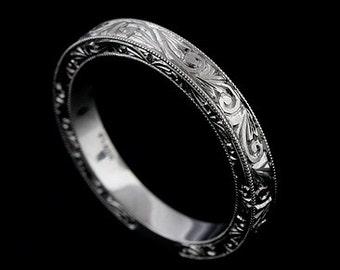 Hand Engraved Wedding Ring, Vintage Style Wedding Band, Swirl Scroll Milgrain Flat Platinum Ring, Art Deco Straight Women's Ring 3.2mm Wide