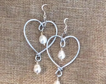Aluminum Heart Freshwater Pearl Earrings