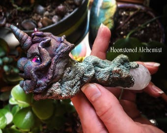 Rainbow Copper Unicorn Pipe with Aura Crystal and Cotton Clouds / Sculpted Unicorn Pipe With Clouds Made From Real Cotton Electroformed