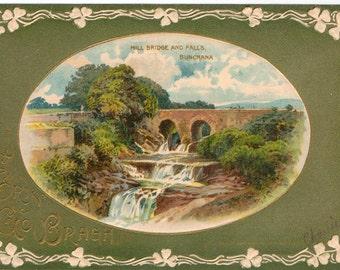 Vintage St Patricks Day Postcard, Erin Go Bragh, Mill Bridge and Falls, ca 1910