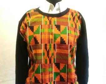 Sweatshirt Ankara africain... Sweat imprimé kente
