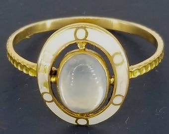 Late Victorian Moonstone and Enamel Conversion Ring 14k Gold