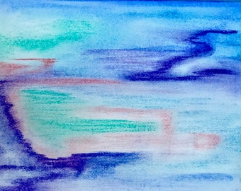 Art Original (Pastel sur papier), de l'eau, unique en son genre seulement-signé par l'artiste