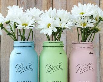 Pastel Painted Mason Jars - Quart Size - Blue, Mint Green, Pink