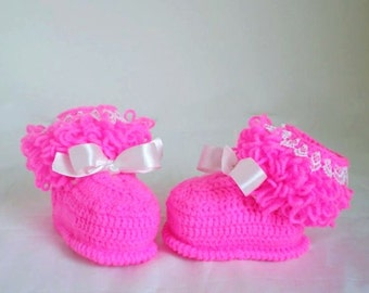 Crochet Pink Baby Girl Booties, Soft Cute First Shoe, Boutique Model Booties, Shower Gift Idea, Knitted Baby Clothes
