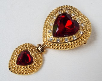 Vintage Victoria's Secret Moghul Gold Tone Faux Diamond & Ruby Rhinestone Articulating Double Heart Brooch