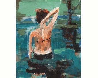 Sea Wall Art, Ocean Painting Art Print, blue, sea, figurative, illustration