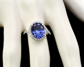 Tanzanite 12X10 Oval With White Sapphire Accents.925 Sterling Silver Size 7