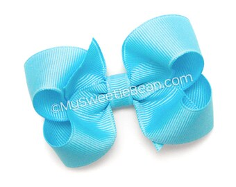"Mystic Blue Hairbow, 3 inch Grosgrain Bow, No Slip Basic Bow for Girls, Baby, Toddler, Bright Blue Bow, 3"" Boutique Bow for Toddlers"