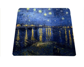 Starry Night over the Rhone Vincent Van Gogh Arles France Rhone River mouse pad mousepad mouse mat art lover