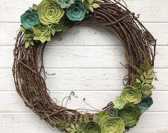 "16"" Felt Succulent Wreath"