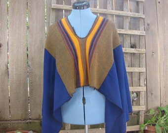 Funky Blue Gold Upcycled Wool Blend Hippie Poncho Cape Cover Up/Eco Sweater Shawl/Cropped Capelet One Size