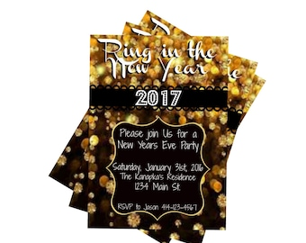 New Years Eve Party Invite Gold Glitter Ring in the New Year 2017 Celebrate New Years Eve 5x7