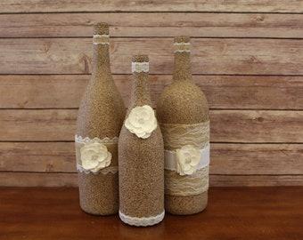 Wine Bottle Decor-Centerpieces, Decorative Bottles, Stone, Vases, Ribbon, Flowers