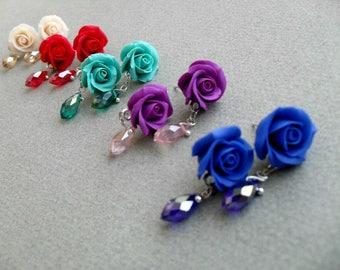 rose earrings, stud earrings, floral earrings, romantic earrings, crystal earrings, holiday earrings, polymer clay jewelry, floral earrings
