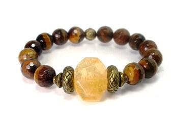 Citrine and Tiger eye Bracelet,Womens Bracelet 12 mm beads,Gemstones Bracelet, Bracelet for Women, Gift for Women,Natural Gemstones Bracelet