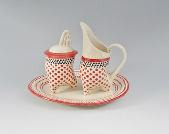 Retro sugar bowl and cream pitcher with serving tray in Red Polka Dots, ceramic coffee set, tripod pottery set