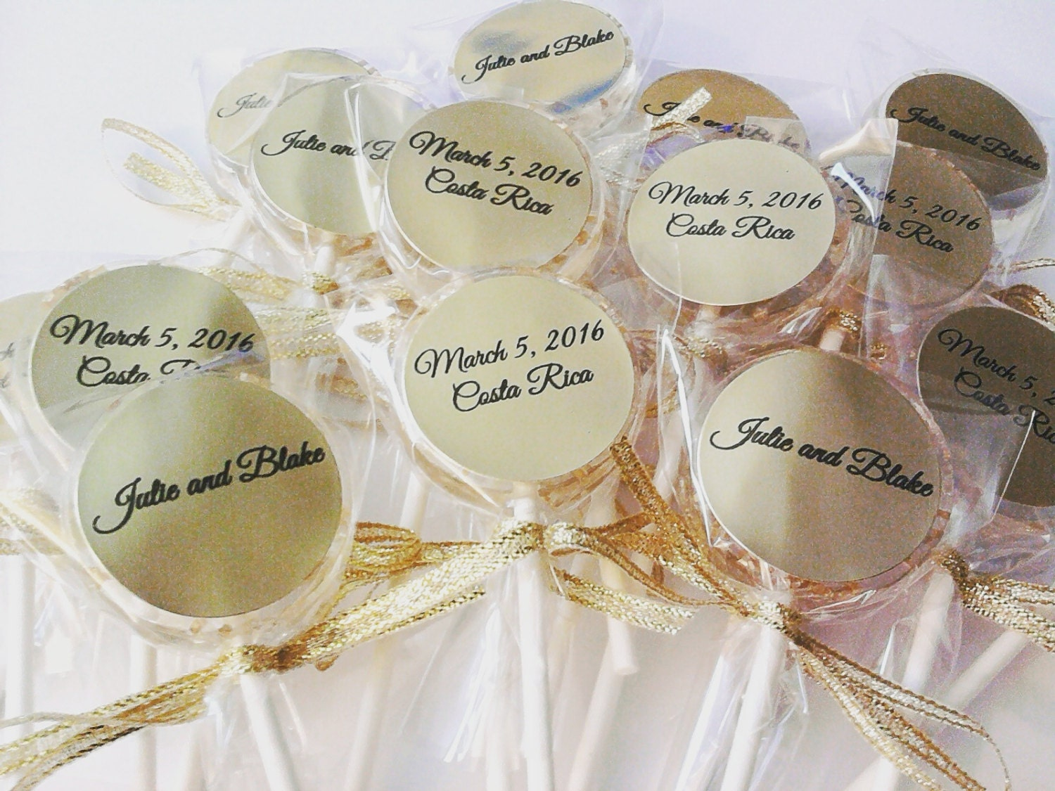 12 WEDDING LOLLIPOPS with Gold Edible Crystals Ribbon and