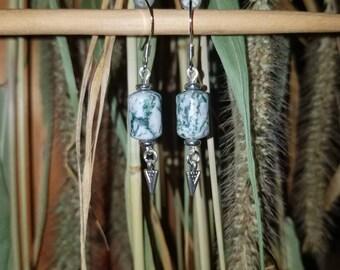 Moss Agate Arrowhead Earrings