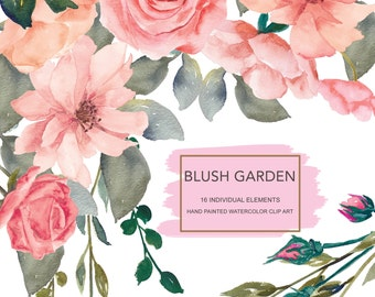 Watercolor Flower Clipart Separate Elements Hand Painted Pink Flowers Blush Roses Clipart Commercial Use | E114 Blush Garden
