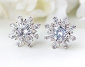Bridal Jewelry Crystal Stud Earrings Silver Bridal Accessories Bridal Earrings Silver Crystal Studs Silver Wedding Jewelry E325-S