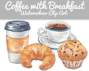 Coffee Clip Art - Digital Watercolour ClipArt, Hand Drawn, Breakfast Muffin and Croissant, Instant Download