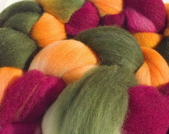 Hand Dyed Merino Wool Combed Top, 4oz, in Harvest